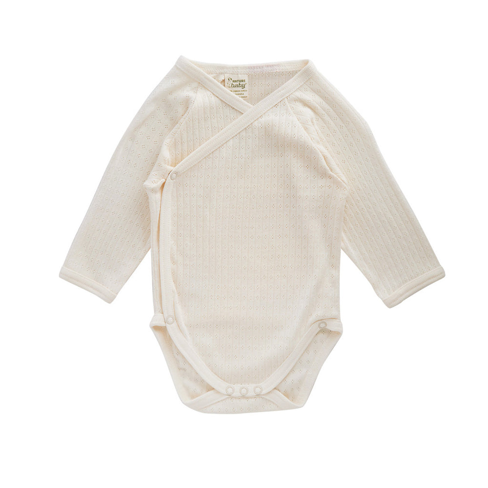 Nature Baby Long Sleeve Kimono Bodysuit Pointelle