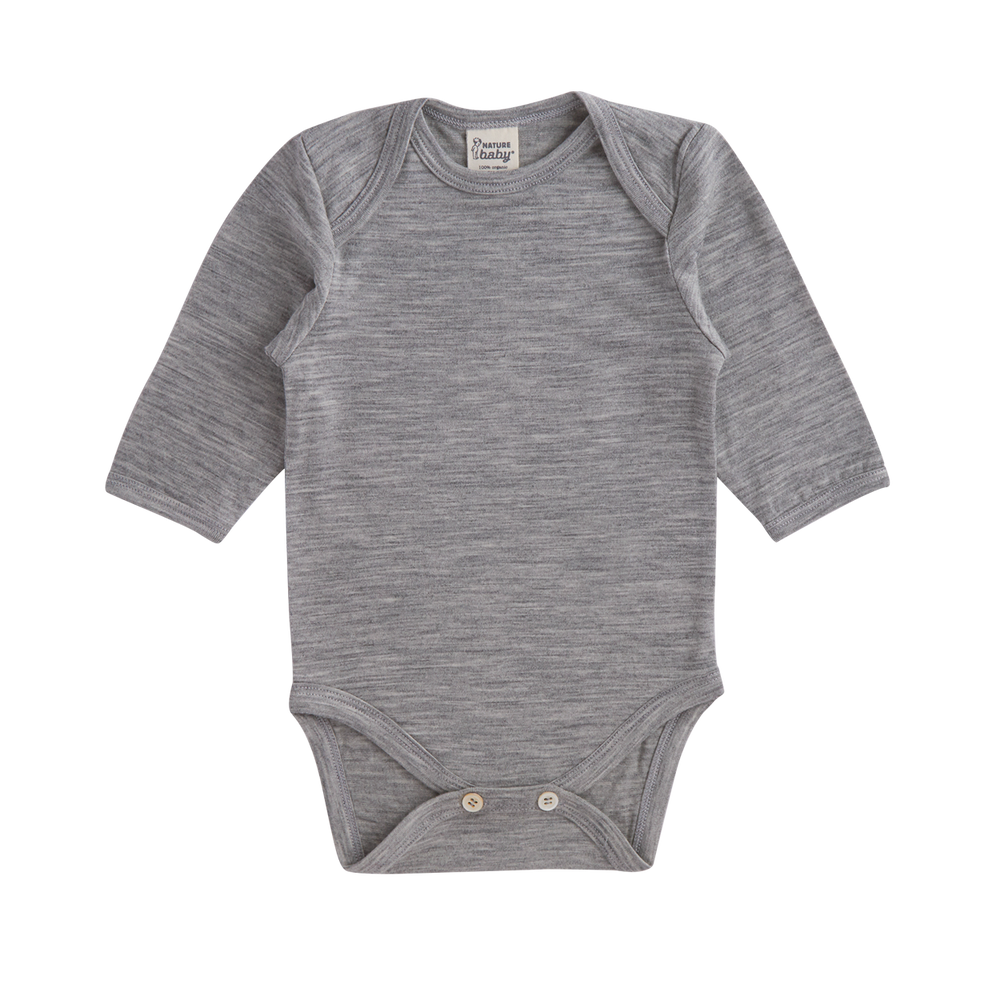 Nature Baby Merino Long Sleeve Bodysuit Grey Marl