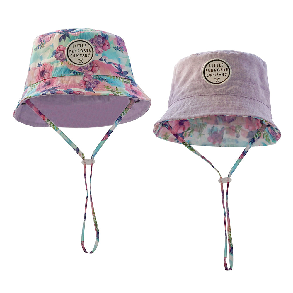 Little Renegade Company Pastel Posies Reversible Bucket Hat (Last Size Mini)