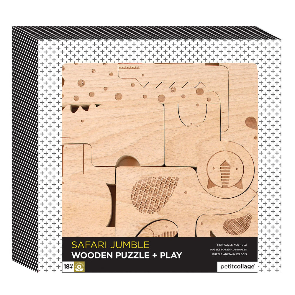 Le Petit Collage Safari Wood Puzzle & Play Set