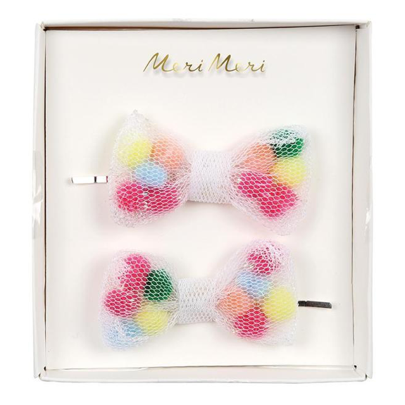 Meri Meri Pom Pom Net Bow Hair Slides