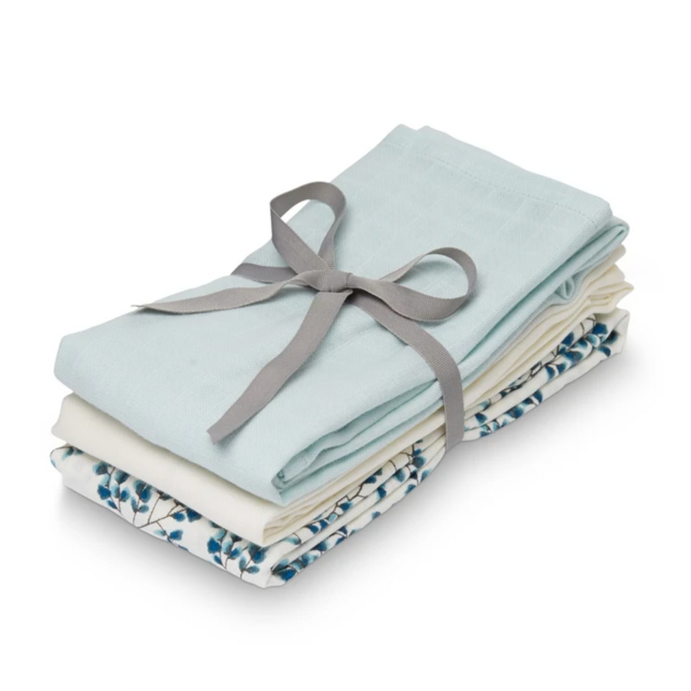 CAM CAM Organic Muslin Cloths 3 Pack Fiori, Light Blue, Creme