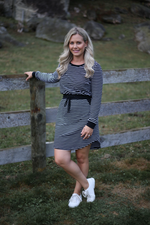 Addison Oakleigh Dress Black Stripe