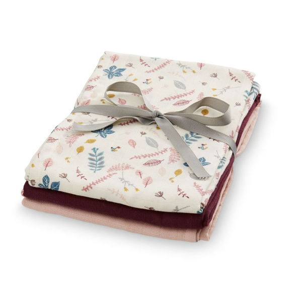 CAM CAM Organic Muslin Cloths 3 Pack Pressed Leaves Rose, Bordeaux, Blossom