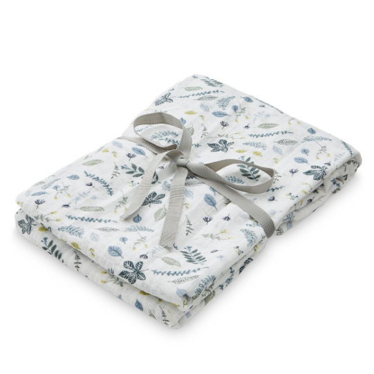 CAM CAM Organic Light Swaddle Pressed Leaves Blue