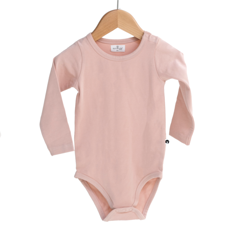 Burrow & Be Long Sleeve Onesie Dusty Rose