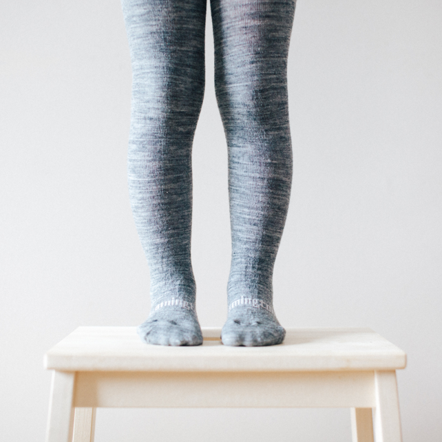 Lamington Merino Flat Knit Tights Grey