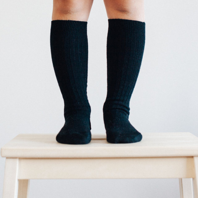 Lamington Merino Rib Knee High Socks Black