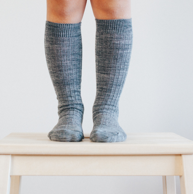 Lamington Merino Rib Knee High Socks Grey
