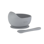 Petite Eats Silicone Bowl and Spoon Pewter