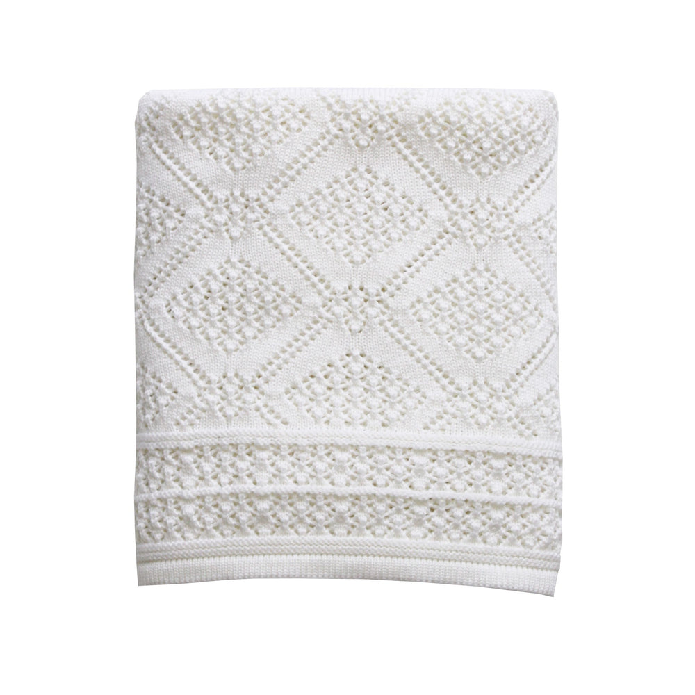Heirloom Baby Merino Blanket Geometric Pattern Bianco