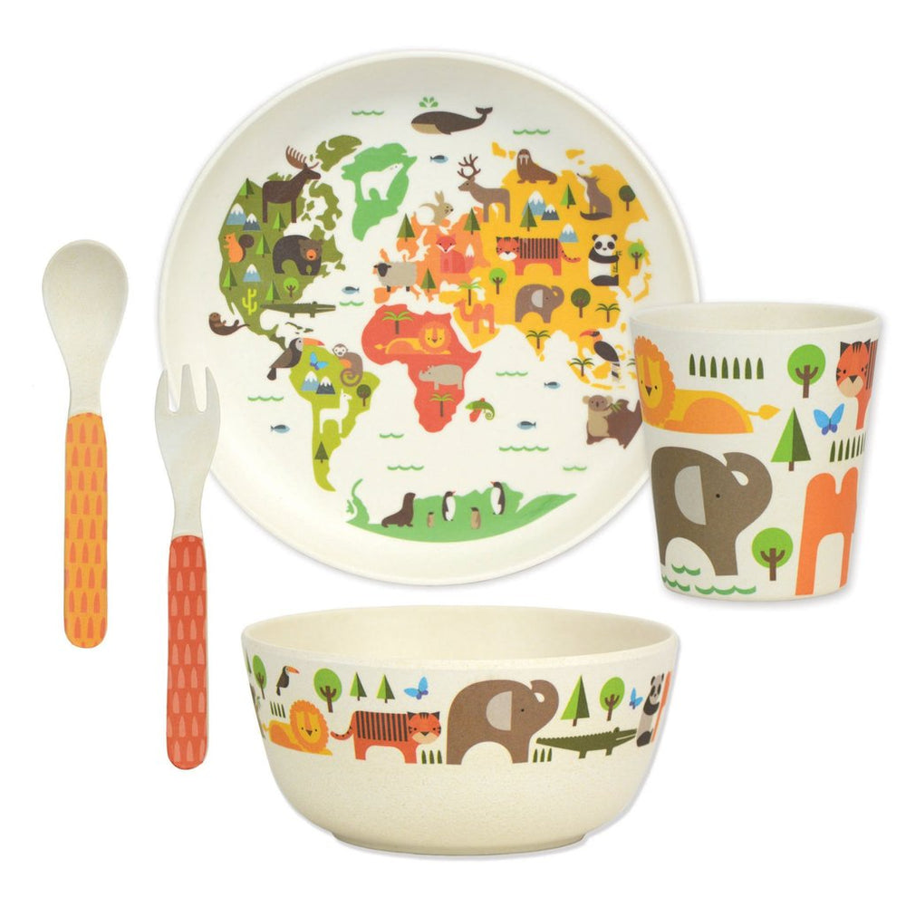 Le Petit Collage Bamboo Dinner Set World