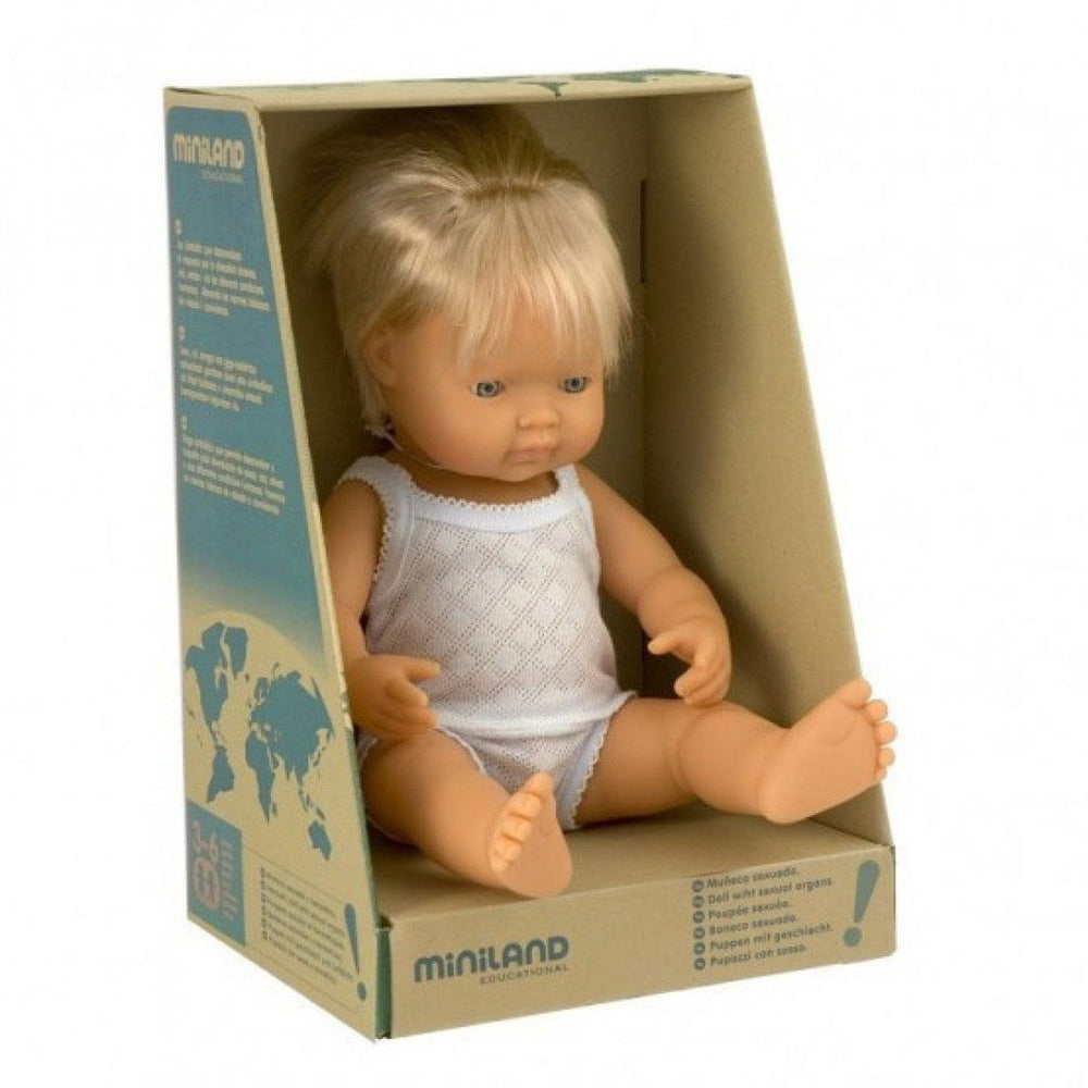 Miniland Anatomically Correct Baby Doll 38cm Caucasian Boy