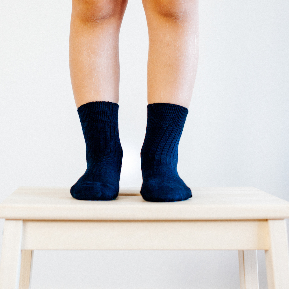 Lamington Merino Crew Socks Rib Navy
