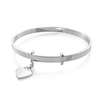 Extendable Sterling Silver Bangle with Heart Charm