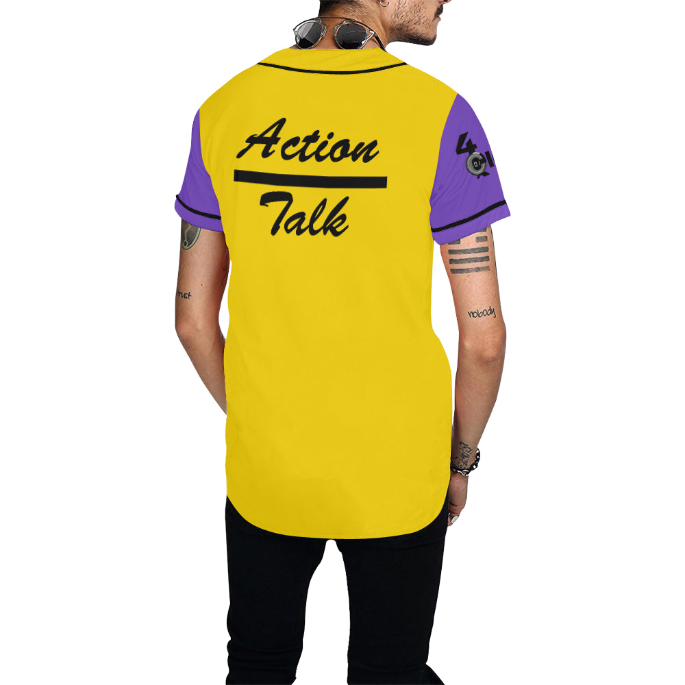 Action Speaks Louder - Purple/Gold Baseball Jersey