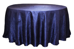 Crinkle Taffeta Round Table Linens - Navy Blue