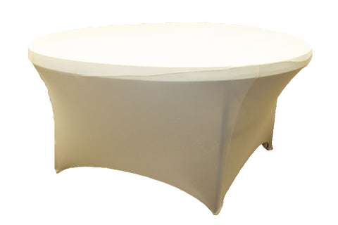 Round Spandex Table Linens   Ivory