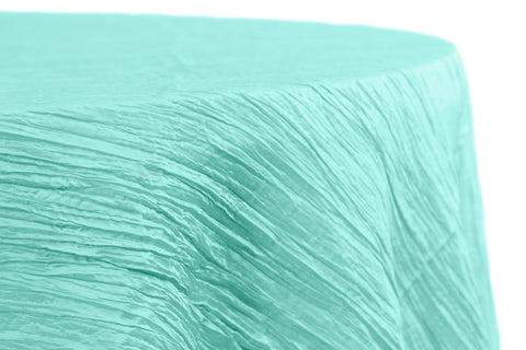 Accordion Crinkle Taffeta Round Table Linens - Turquoise