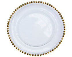 Beaded Gold Rim Charger Plate