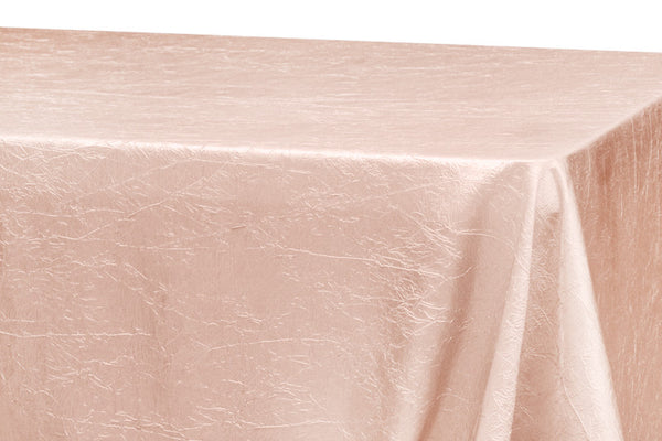 Crinkle Taffeta Rectangular Table Linens - Blush/Rose Gold