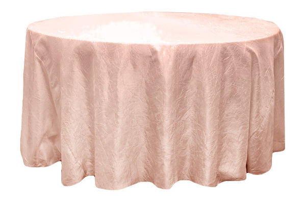 Crinkle Taffeta Round Table Linens - Blush/Rose Gold