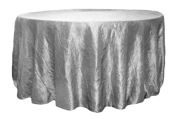 Crinkle Taffeta Round Table Linens - Silver