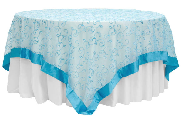 Embroidery Organza Swirl Overlay   Aqua Blue | The Cinderella House Chair  Covers And Tablecloth Rental
