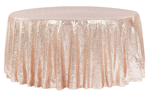 Glitz Sequin Round Table Linens - Blush/Rose Gold