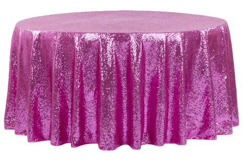Glitz Sequin Round Table Linens - Fuchsia