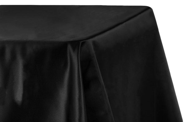 Lamour Satin Rectangular Table Linens - Black