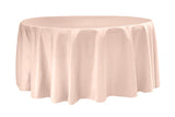 Lamour Satin Round Table Linens - Blush/Rose Gold