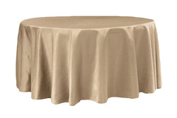 Lamour Satin Round Table Linens - Champagne