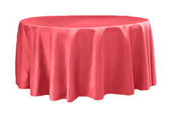 Lamour Satin Round Table Linens - Coral