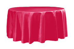 Lamour Satin Round Table Linens - Fuchsia