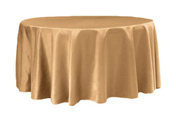 Lamour Satin Round Table Linens - Gold Antique