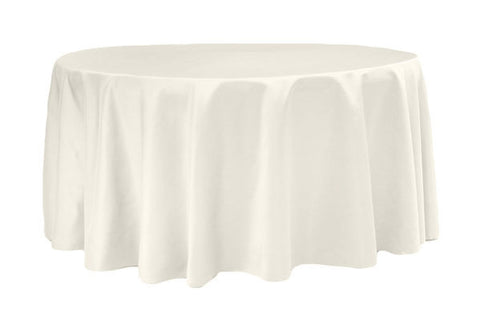Lamour Satin Round Table Linens - Ivory