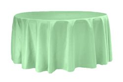 Lamour Satin Round Table Linens - Mint Green