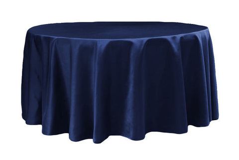 Lamour Satin Round Table Linens - Navy Blue