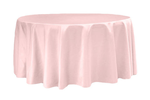 Lamour Satin Round Table Linens   Pastel Pink