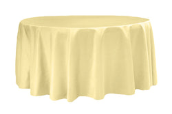 Lamour Satin Round Table Linens - Pastel Yellow