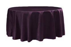 Lamour Satin Round Table Linens - Plum