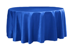 Lamour Satin Round Table Linens - Royal Blue
