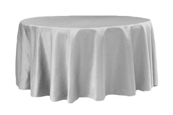 Lamour Satin Round Table Linens - Silver