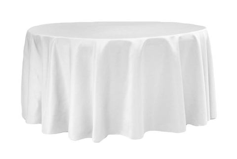 Lamour Satin Round Table Linens - White