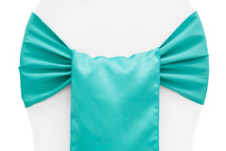 Lamour Satin Chair Sashes - Turquoise