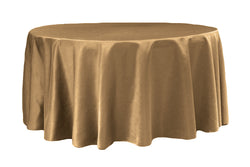 Lamour Satin Round Table Linens - Iced Coffee/Mocha