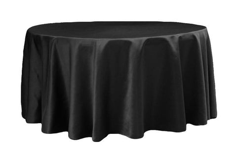 Lamour Satin Round Table Linens - Black