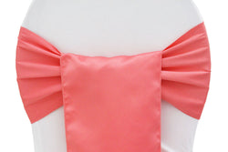 Lamour Satin Chair Sashes - Coral