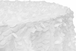 Leaf Petal Taffeta Round Table Linens -  White